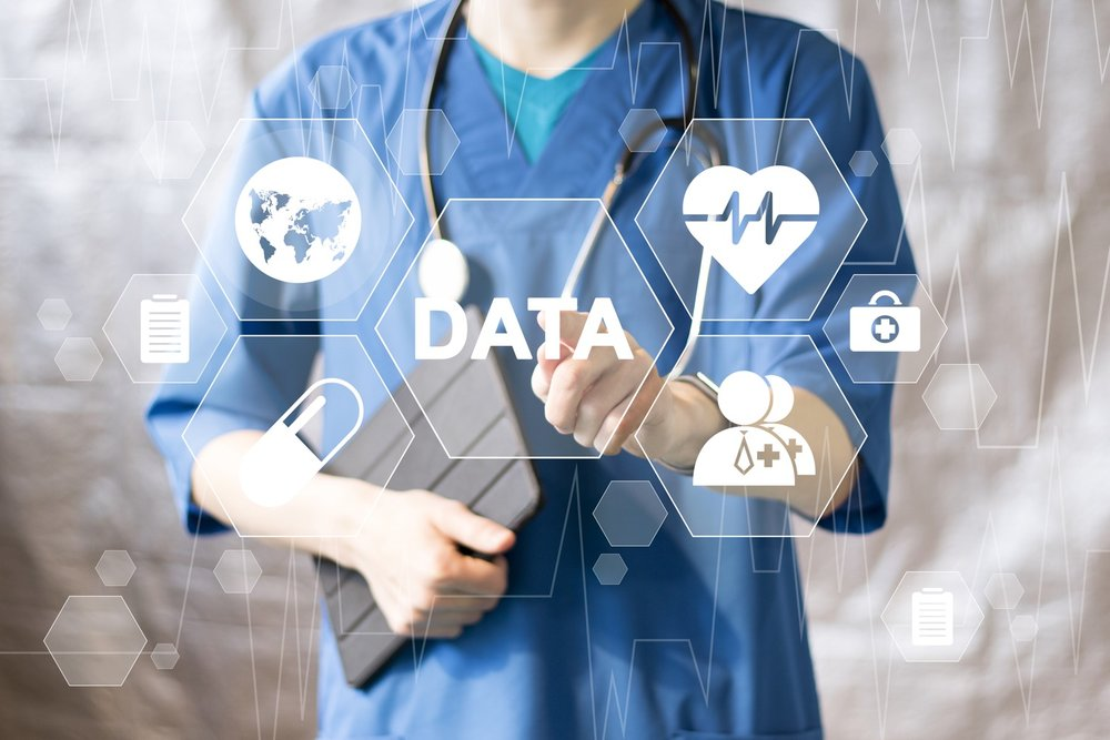 Doctor pushing button data service virtual healthcare in network medicine..jpg