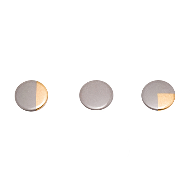 Sian Evans, Grey & Gold Fractions Badges, £7.50 (Set of 3)
