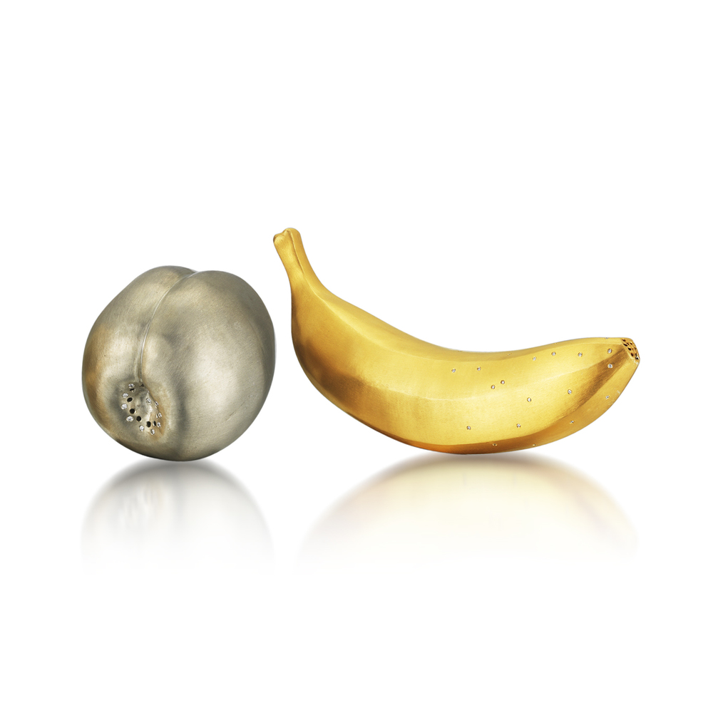 A Pair of Fruit Motif Salt and Pepper Shakers, in Silver and 18K Gold Plating with Diamond Accents