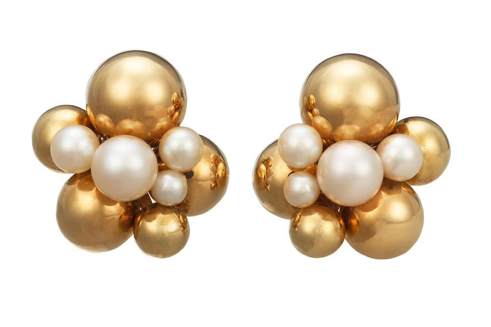 "A Pair of Gold and Cultured Pearl ""Atomo"" Earrings, by Marina B"
