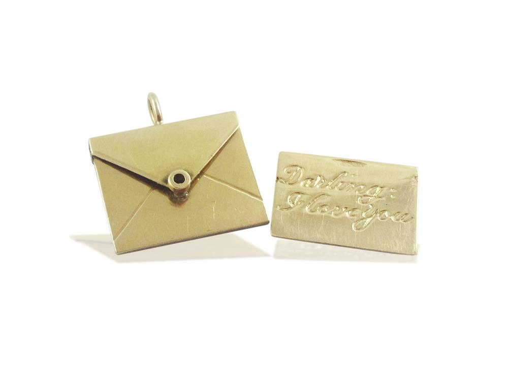 A 14K Gold Love Letter Pendant, circa 1950s