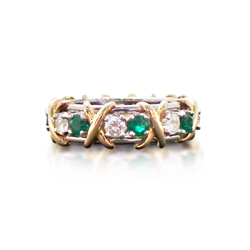 cut band set diamond ring emerald eternity prong bands and