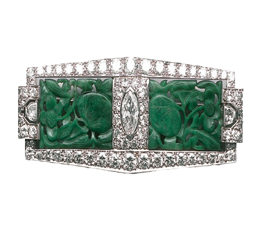 A Platinum, Jadeite and Diamond Brooch, circa 1925 . Composed of carved jadeite plaques of foliate design, set in the centre with a marquis-shaped diamond weighing approximately .75 carats, accented by old European- cut, single-cut and window-cut diamonds weighing approximately 4.30 carats. Signed B.S.& F, for Black, Starr & Frost.