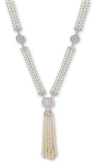 An Art Deco Natural Seed Pearl and Diamond Sautoir Necklace, signed J.E.C&Co., Numbered F4204, Circa 1920s.
