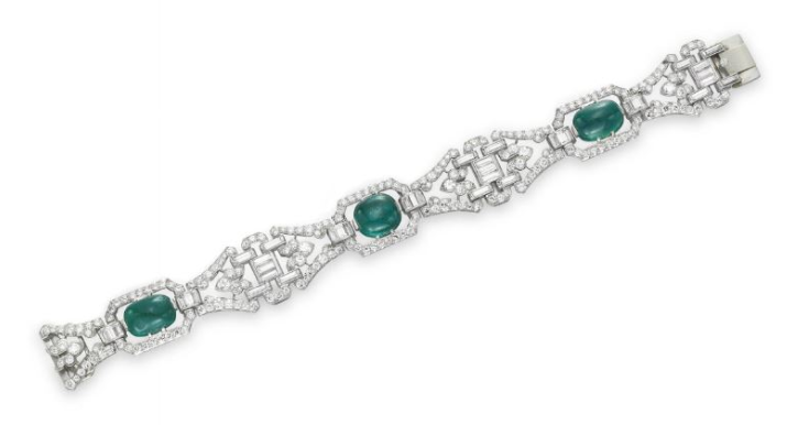 An Art Deco Diamond and Emerald Bracelet by J.E. Caldwell & Co., circa 1930
