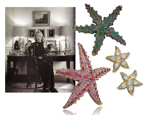 """Standard Oil heiress Millicent Rogers wearing the   RenéBoivin Starfish and photographed at her home.    A Cabochon Ruby and Amethyst """"Starfish"""" Brooch by Boivin, circa 1939;  Sapphire & Moonstone Starfish Ear Clips, by   RenéBoivin;""""Starfish"""" Brooch in emerald and sapphire, by Boivin."""