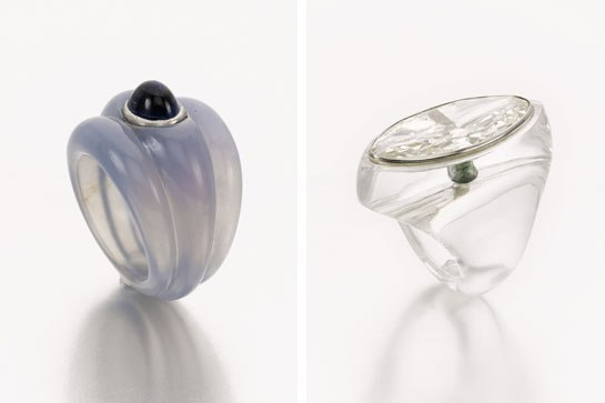 From left: A Carved Chalcedony Ring Set with a Cabochon-Cut Sapphire; A Rock Crystal and Diamond Ring