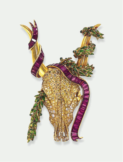 A Diamond and Gem-Set Longhorn Brooch, by René Boivin, circa 1940