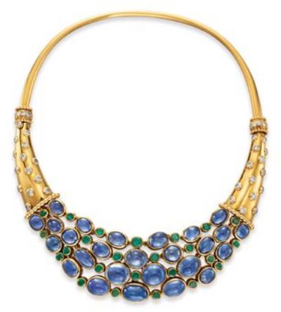 """A Sapphire, Diamond, Emerald and Gold """"Cornucopia"""" Necklace, by    René Boivin, circa 1938"""