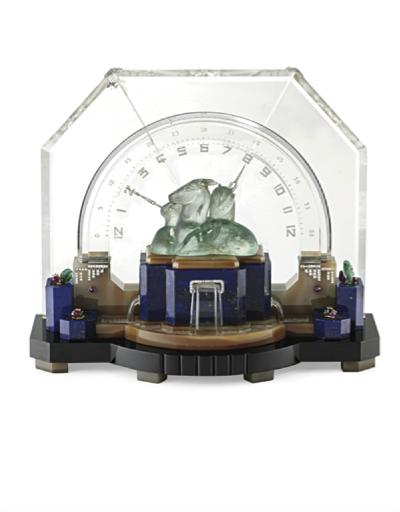 "An Art Deco Multi-Gem and Diamond ""Gazelle"" Desk Clock, by Ostertag, circa 1929"