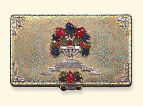 An Art Deco Gem-Set and Enamel Vanity Case, by Ostertag, circa 1925
