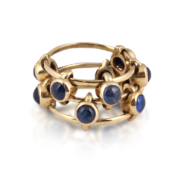 """A Yellow Gold and Sapphire """"Abacus"""" Ring, by JAR, circa 1979 (Available at Revival Jewels). (Literature: Cf. JAR Paris, JAR Paris 2002 Arts Books International, Somerset House Exhibition, Plate 197)"""