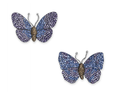 A Pair of Exquisite Multi-Gem Butterfly Brooches, by JAR