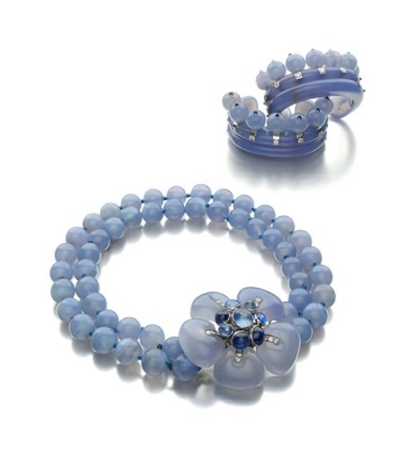 An Important Blue Chalcedony, Sapphire and Diamond Suite, by Suzanne Belperron, circa 1935. Provenance: The Duchess of WIndsor.
