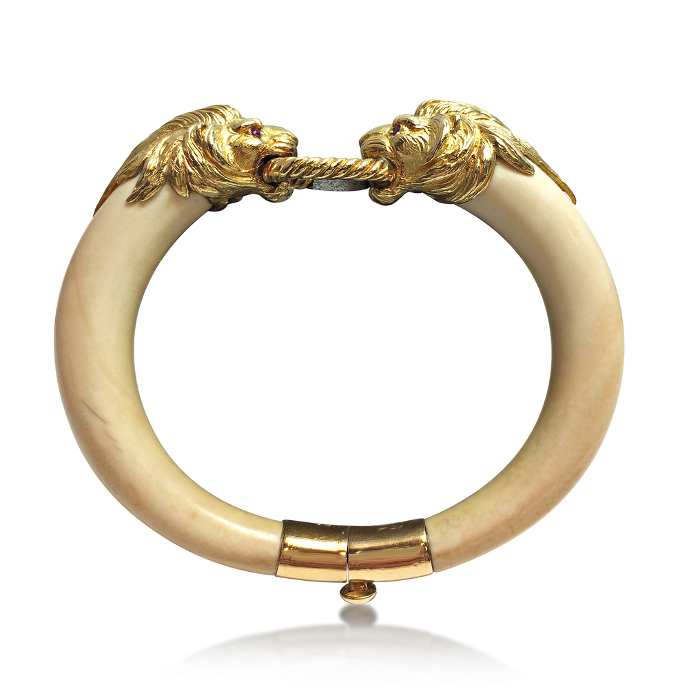 An Ivory and 18K Gold Lion Head Bracelet by Van Cleef Arpels