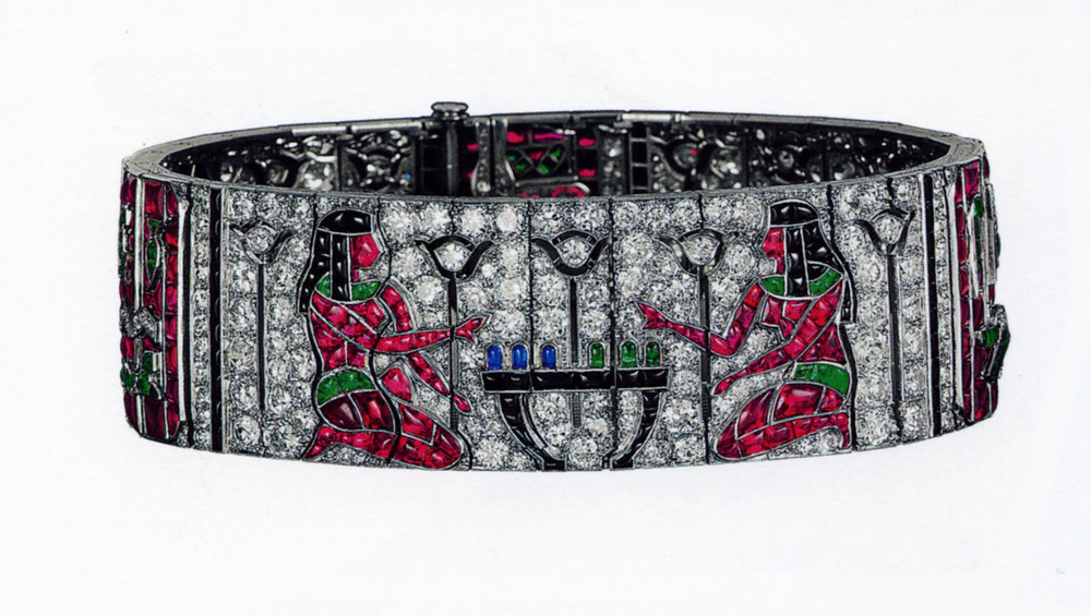 A bracelet made of platinum and white gold, diamond, ruby, sapphire, emerald and onyx. Created by  Frères Rubel  for Van Cleef & Arpels for the International Exhibition of Modern Decorative and Industrial Arts in Paris in 1925.    Image courtesy of http://richardjeanjacques.blogspot.hk.