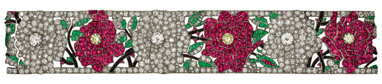 "The ""Roses"" bracelet,  composed of 463 round brilliants, 293 rubies, and 108 emeralds mounted on platinum.     Image courtesy of https://unvraipetitbijou.files.wordpress.com"