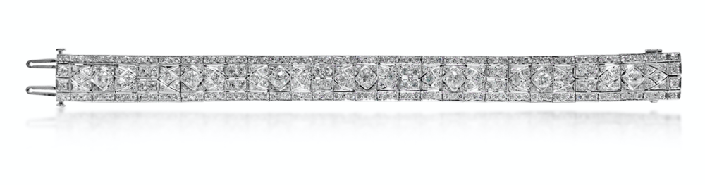 An antique diamond bracelet set with Old Mine Cut diamonds, available at Revival Jewels