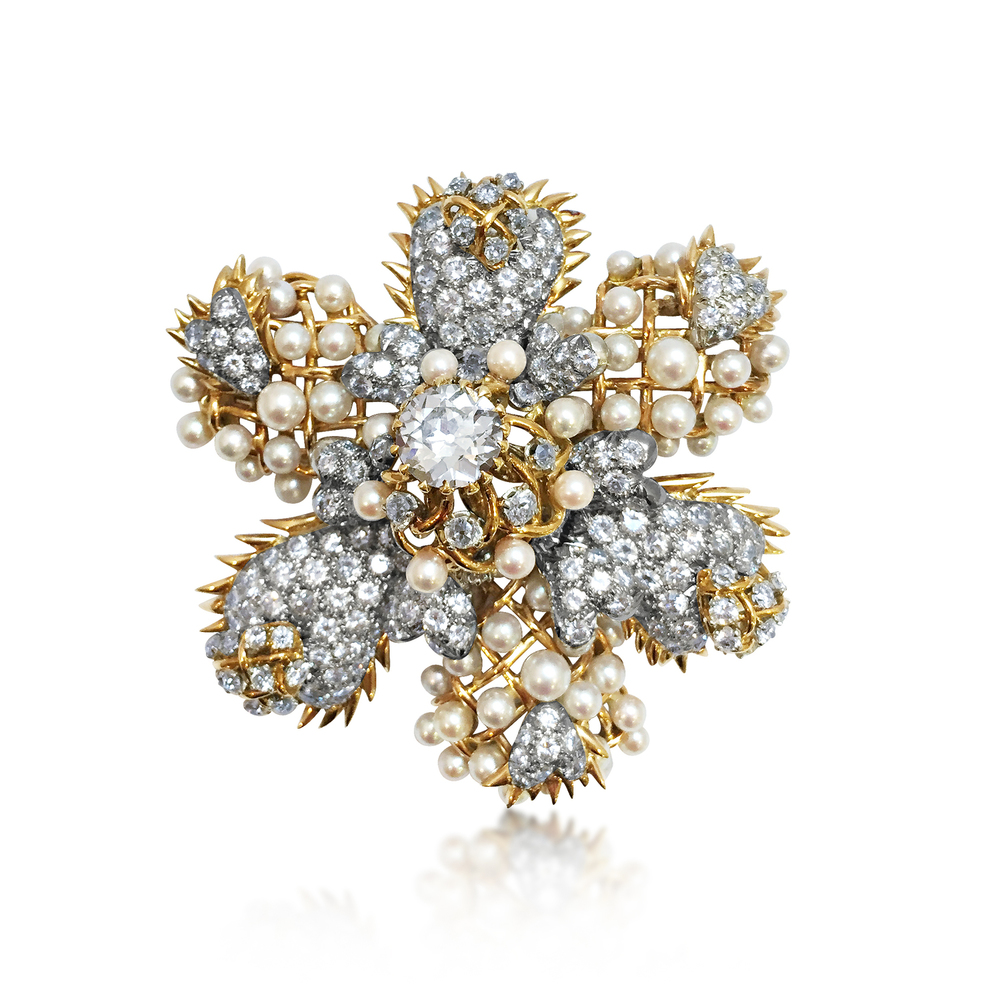 A Jean Schlumberger for Tiffany brooch featuring an Old European Cut diamond as the centre stone, available at Revival Jewels