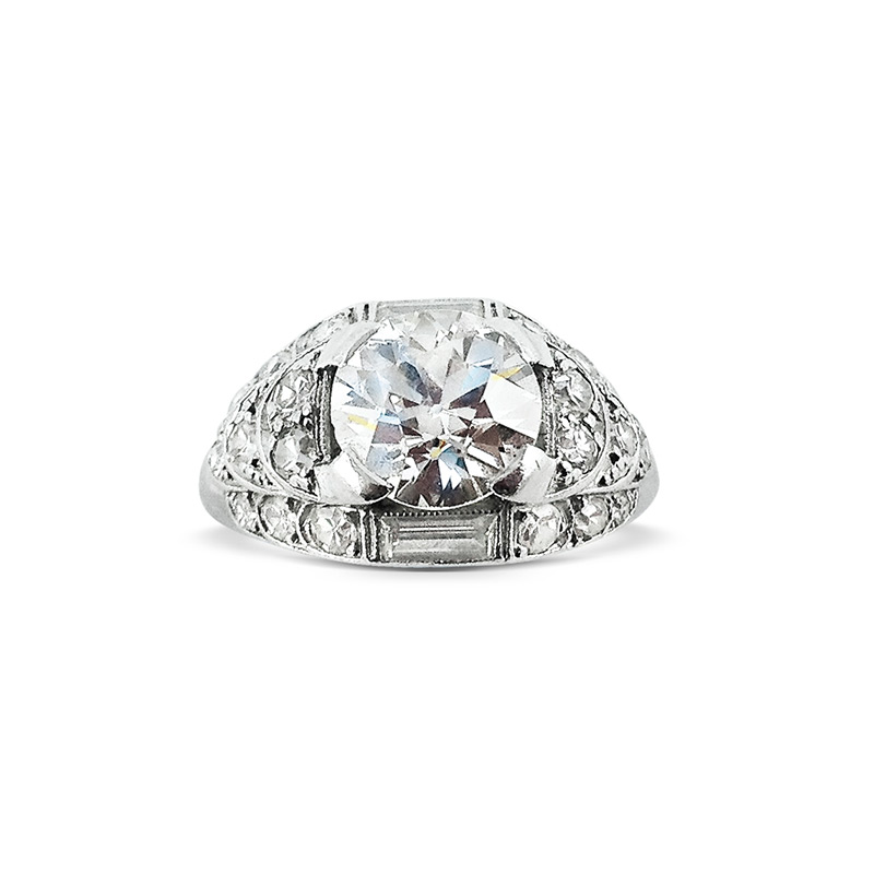 A ring with an Old European Cut diamond, circa 1925, previously sold at Revival Jewels