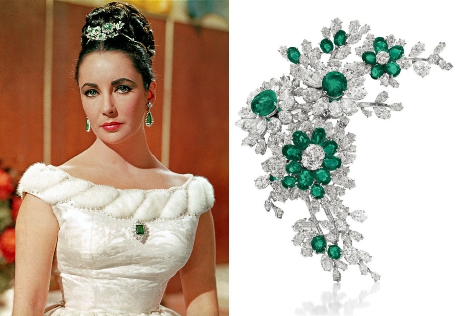 Another gift from Eddie Fisher to Elizabeth Taylor, this Bulgari diamond and emerald brooch was made in 1960. Mounted in platinum, this piece was regularly worn by the actress as a brooch and hair accessory