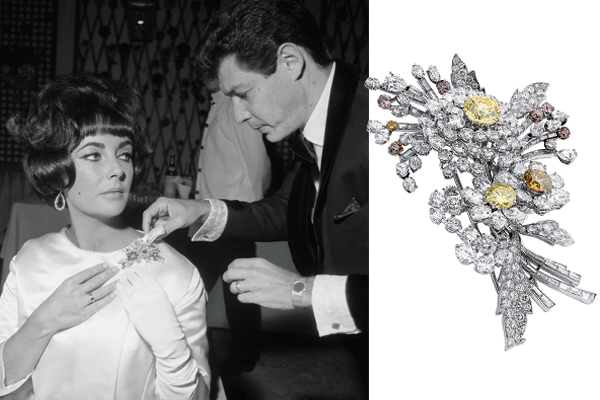 Presented to Elizabeth Taylor on her 30th birthday by then-husband Eddie Fisher, this Bulgari tremblant brooch features three diamond flower blossoms set with a 3.38-carat vivid fancy yellow diamond and two smaller brown diamonds. Sold at an Christie's auction, the estimated price range for it was USD300,000­–500,000 but it ultimately fetched USD1,142,500