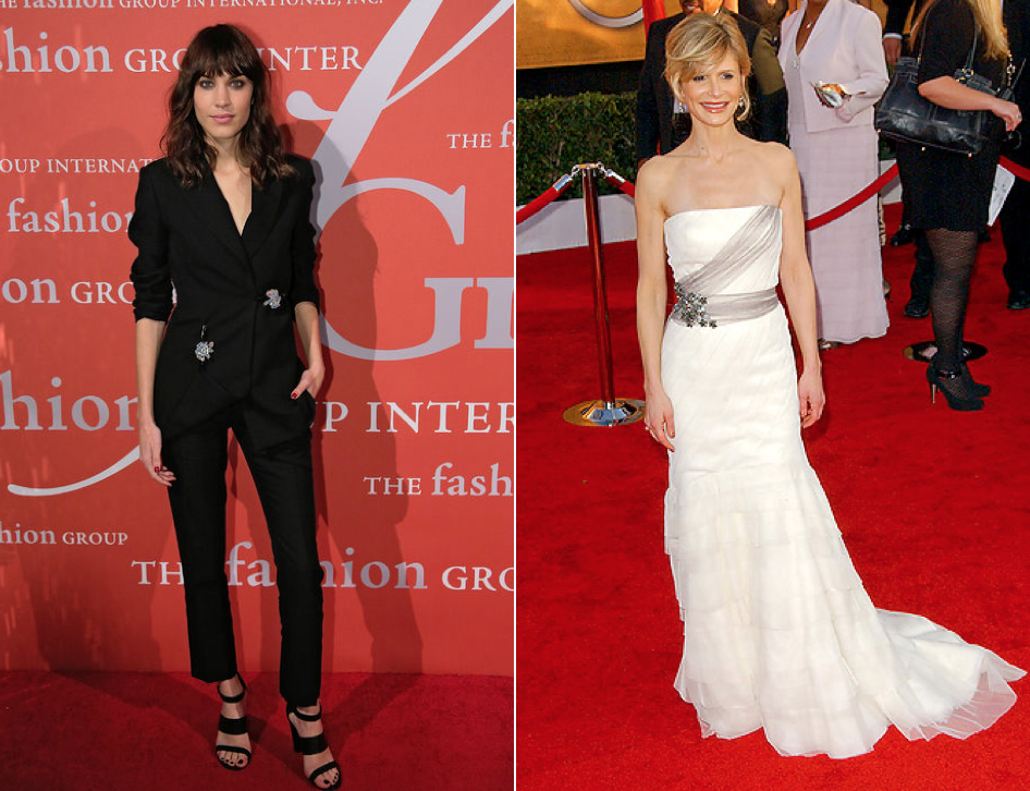 Alexa Chung (left) and Kyra Sedgwick (right)