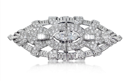 Revival Jewels' Style Suggestion: An Art Deco diamond and platinum double-clip brooch, circa 1930, whose symmetrical proportions make it perfect worn on straps or either sides of an outfit. Click here for details.