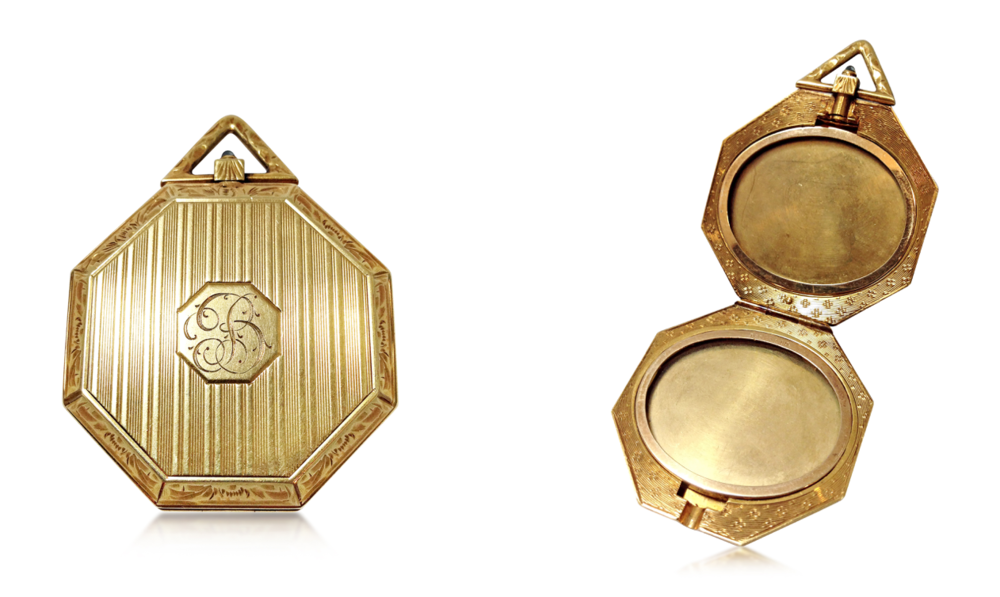 A 14k yellow gold locket by Tiffany & Co., available at Revival Jewels.