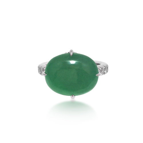 a72173e21d1dd A Jadeite and Diamond Ring - Sold