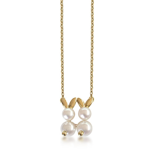 A cultured pearl and 18k gold double rabbit pendant and chain by a cultured pearl and 18k gold double rabbit pendant and chain by van cleef arpels sold aloadofball Image collections