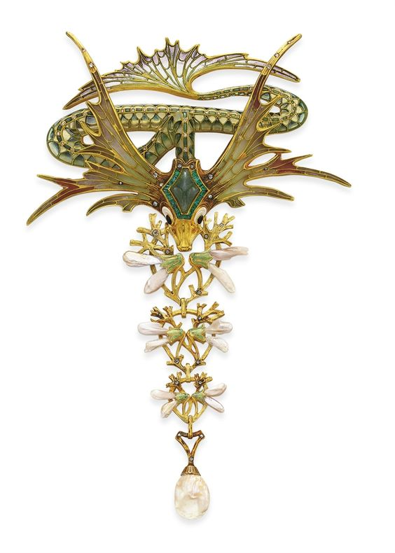An Art Nouveau Enamel and Pearl Corsage Ornament by George Fouquet Photo Courtesy of Christie's
