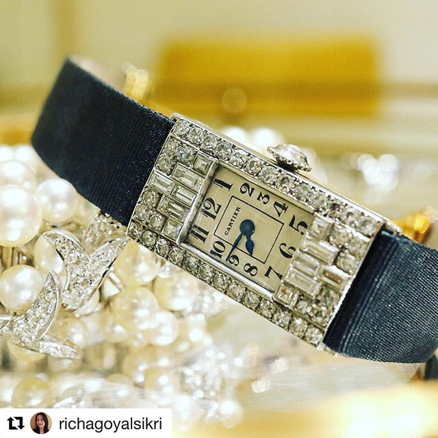 Beautiful, sexy photograph of our Art Deco diamond and platinum watch by Cartier. Thank you @richagoyalsikri  #Repost ・・・ There is a natural elegance that seems to permeate all creations by Cartier, and this Art Deco watch is no exception. Imagine the wonderful parties it attended, the scandalous behavior it may have seen and the dainty wrists it adorned. Crafted in iconic 1925 in Platinum and Diamonds, it comes with French hallmarks and maker's marks...a magnificent example of a decadent era! . Photo & Text by @richagoyalsikri  For sale by @revivaljewels . . . . . . . . @revivaljewels #vintagecartier #cartier #1925  #1925society #artdeco #artmodern #french #cartier #vintage #vintagetimepiece #vintagewatch #vintagewatches #platinum #platinumwatch #diamonds #cartiervintage