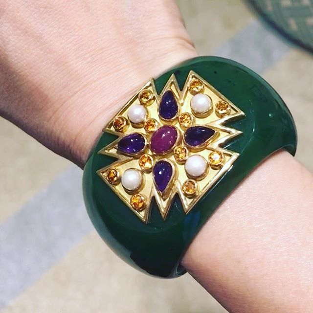 Verdura designed the first pair of iconic Maltese cross cuffs for Coco Chanel in the 1930's. He was inspired by the Byzantine motifs in the churches they visited on their travels through Italy. This Nephrite and Gemset Maltese Cross cuff, by Verdura, is a rare one and now gone to a very good home.  #Verdura #iconic #Chanel #nephritecuff #maltesecrosscuff #Sold #revivalvintagejewels #revivaljewels