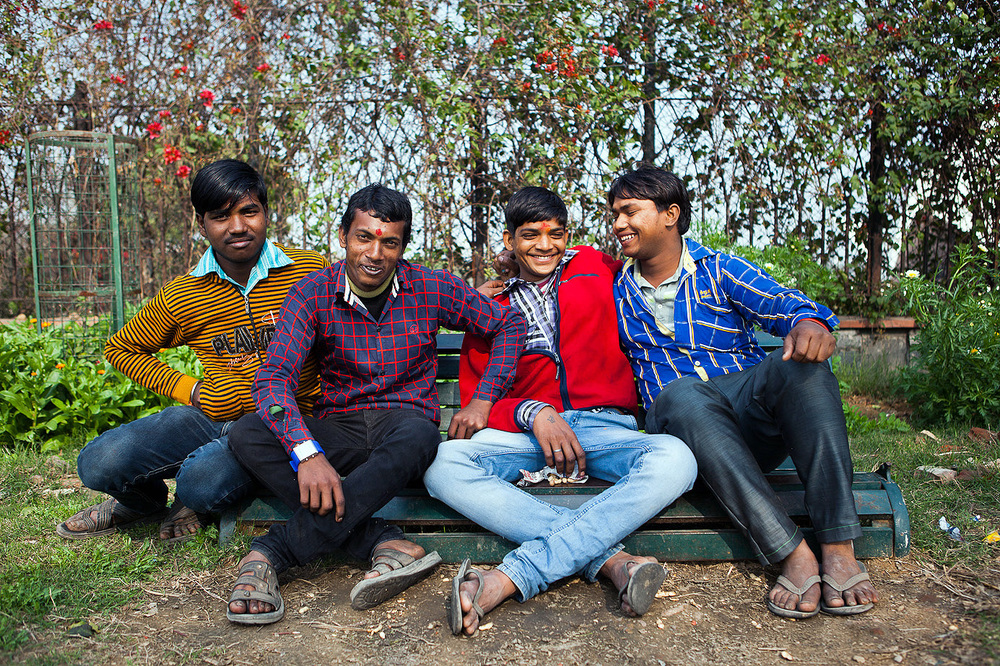 Great bunch of guys near the Lotus Temple. They were so friendly, offering monkey nuts and smiling for the camera.
