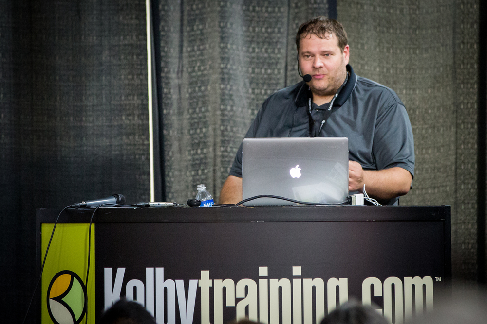 "Frank Doorhof teaching in the Expo Hall ""Why Photography is More Than Just Shooting"" at the Kelbytraining.com Theatre."