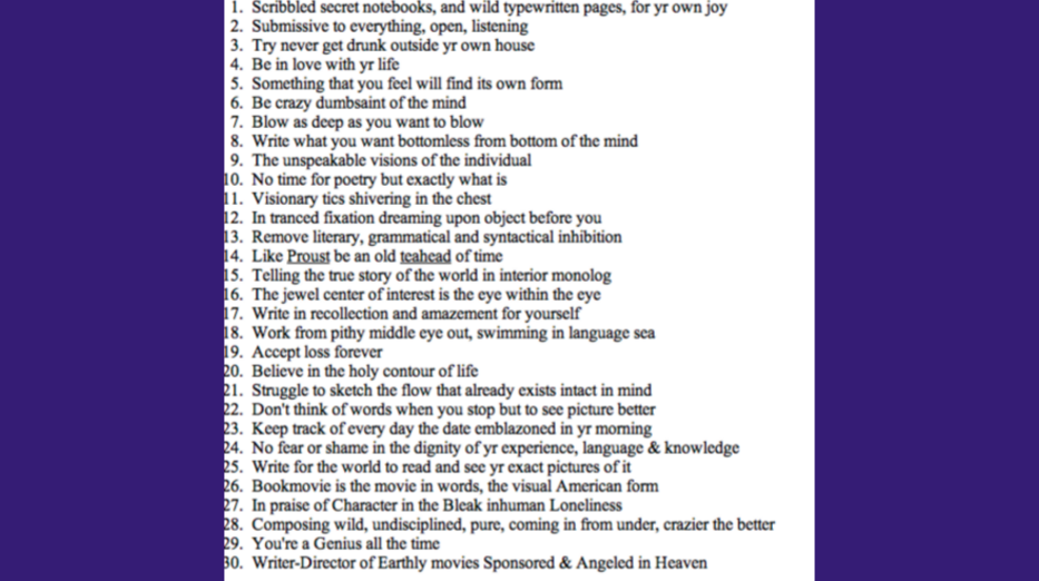 Jack Kerouac's rules of writing