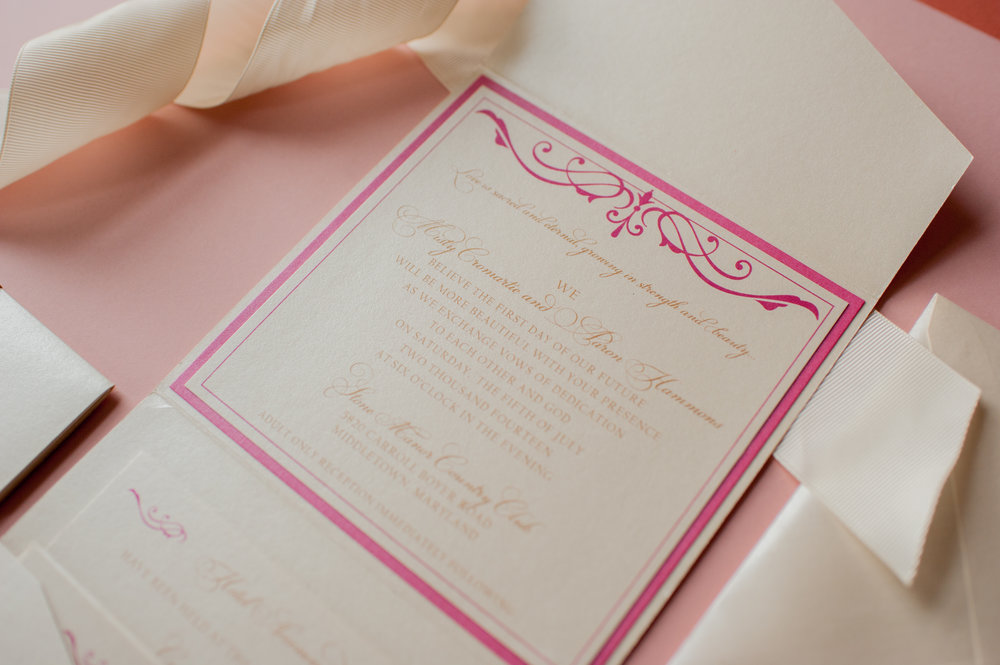 (pictured above is an example of a pocket fold with a backing layer on the invitation)