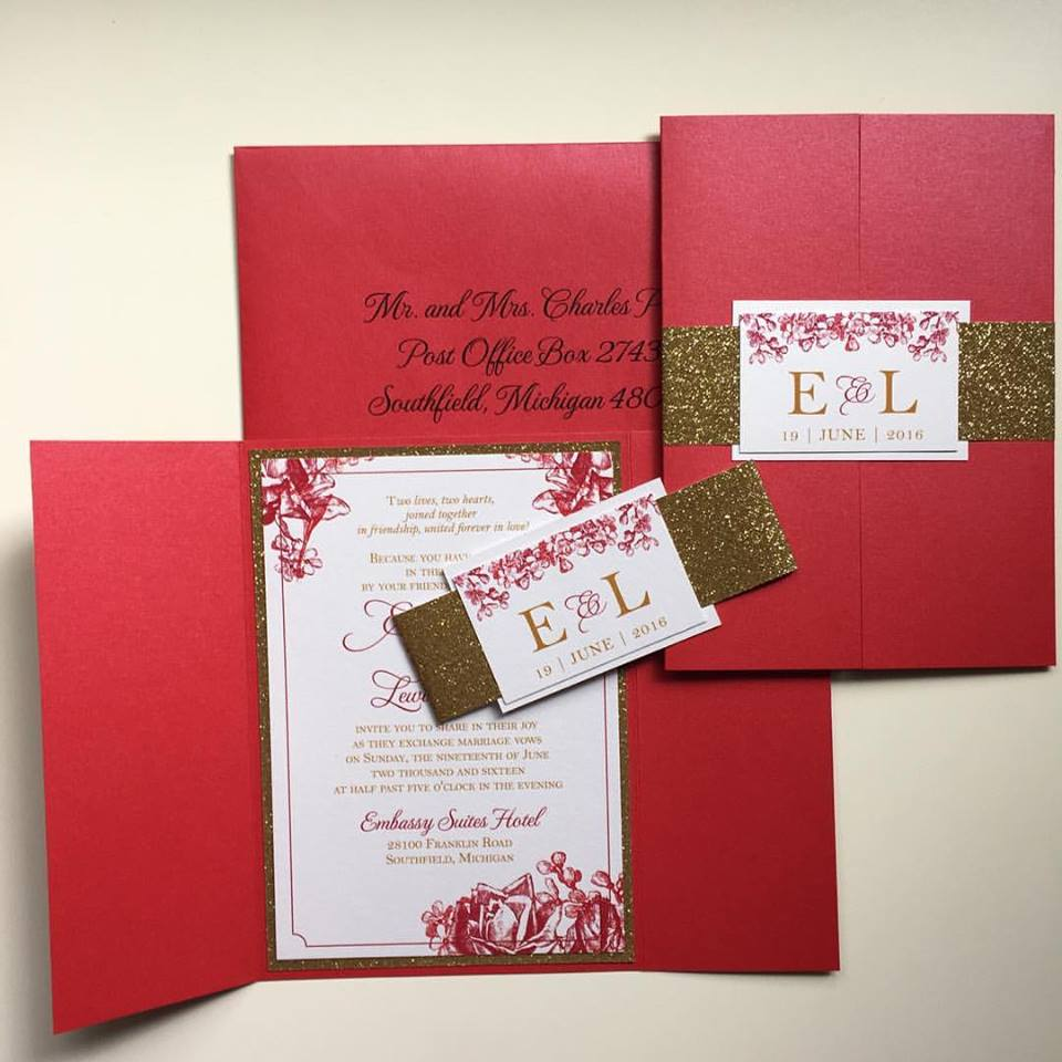 Customized in a color palette of cherry and antique gold. Upgraded with a gatefold enclosure, invitation backing layer, belly band and a two layer monogram tag.