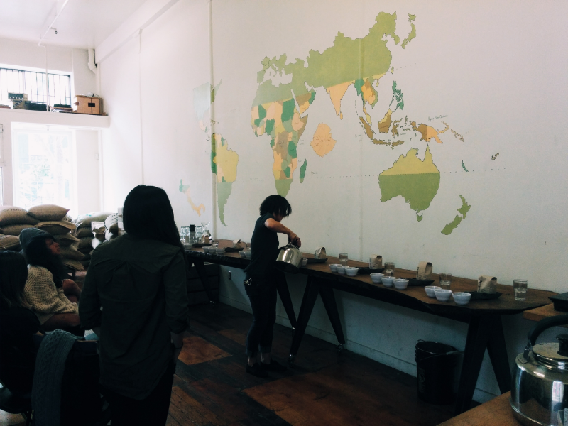 Four Barrel Coffee's store room which also serves as a training and cupping room