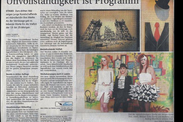 Zeitungsartikel in der Neuen Zentralschweizer Zeitung