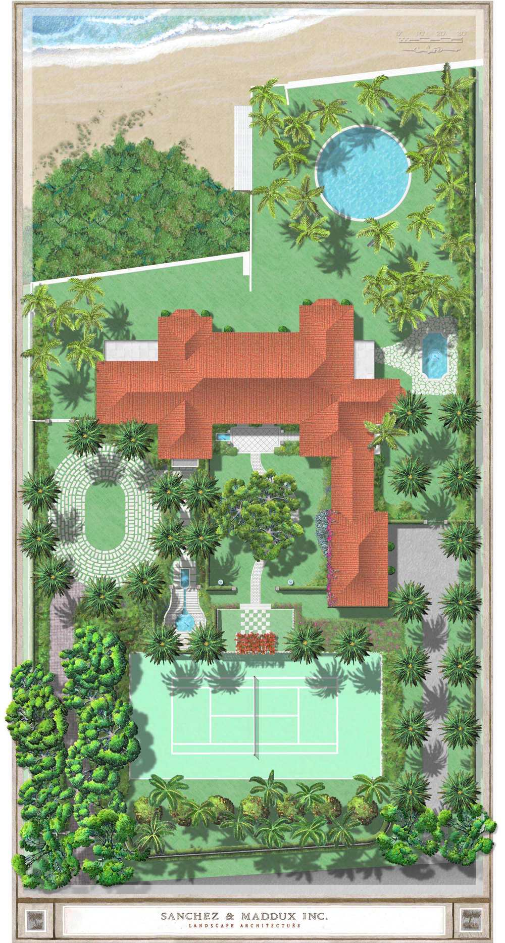 New House,  Palm Beach, FL  Site Plan by Sanchez & Maddux