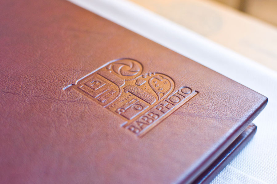 Logo embossed in leather on a Folio album