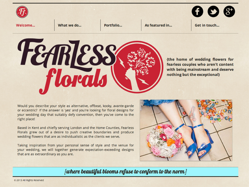 Logo and secondary roundel in position on the Fearless Florals website www.fearlessflorals.co.uk  (Website constructed by the client)