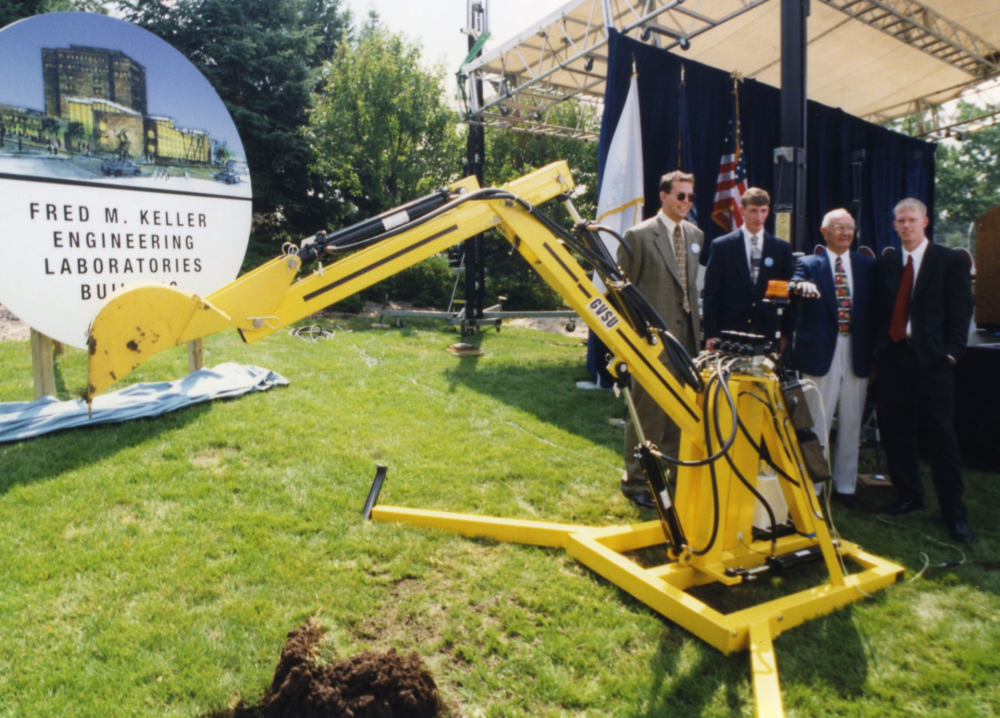 Our robot with Fred Keller after the groundbreaking ceremony.