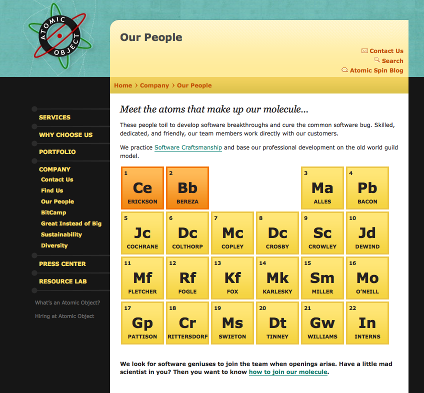 """Our People"" page"