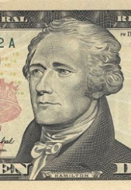 Alexander Hamilton, first United States Secretary of the Treasury, as depicted on the $10 bill [image source].