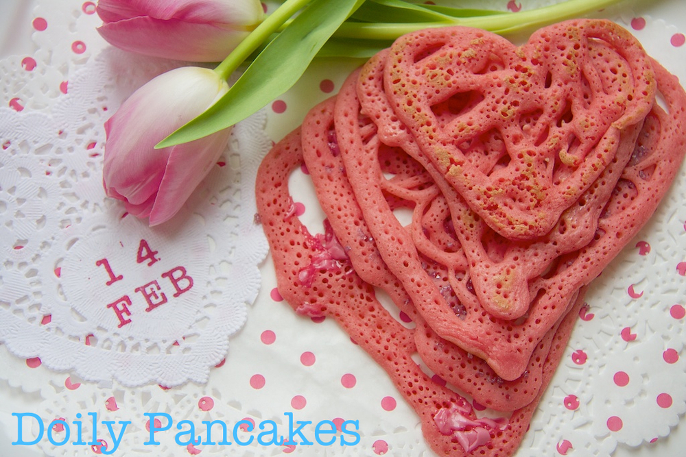 Doily Heart Pancakes