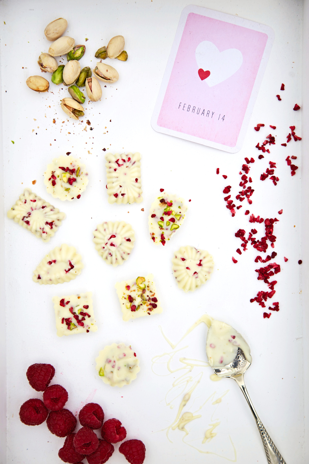 white chocolate with pistachio and raspberry