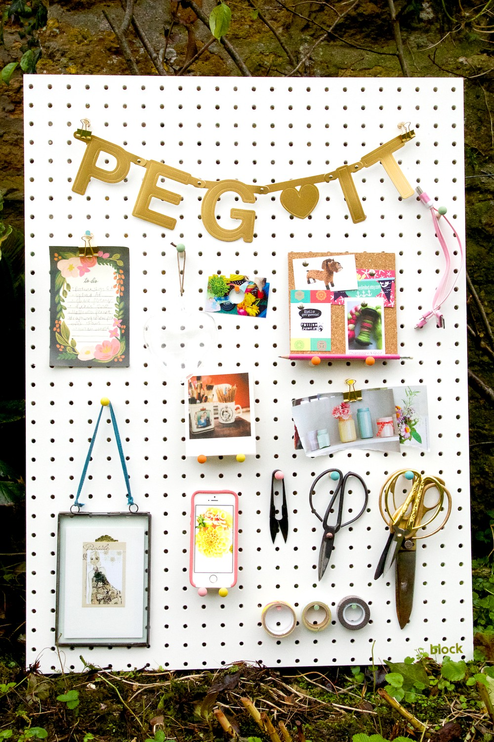 white peg board